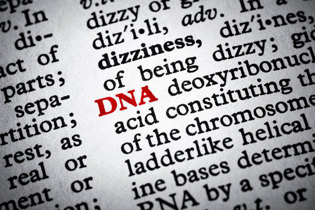 Dictionary page highlighting DNA in red