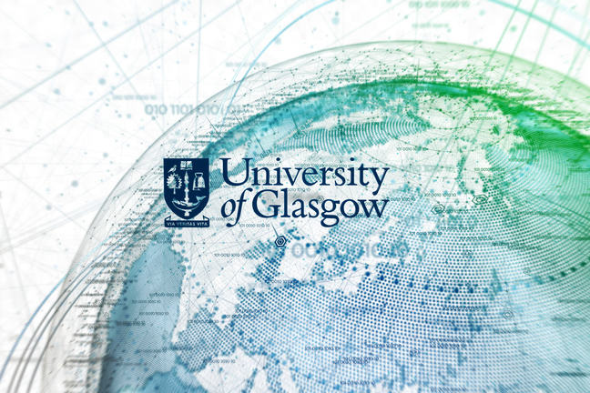 Image of the top half of a world glob with the University of Glasgow Crest on it.