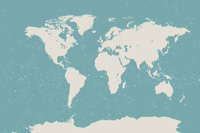 Sketch of a world map, white on light blue background.