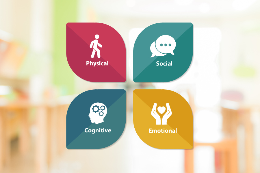 The four developmental domains: Physical, social, emotional and cognitive