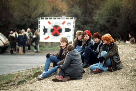 Protesters outside RAF Greenham Common in the early-1980s.