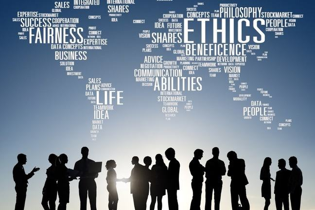 business people in silhouette with ethical relating words above their heads such as ethics, fairness etc