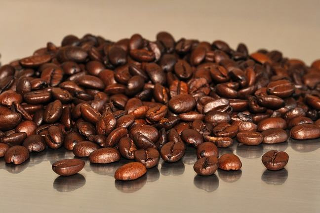 A pile of roasted coffee beans.