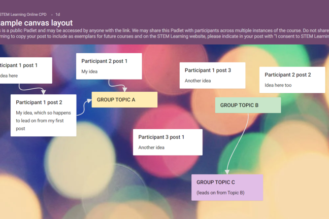Padlet example with virtual post it notes