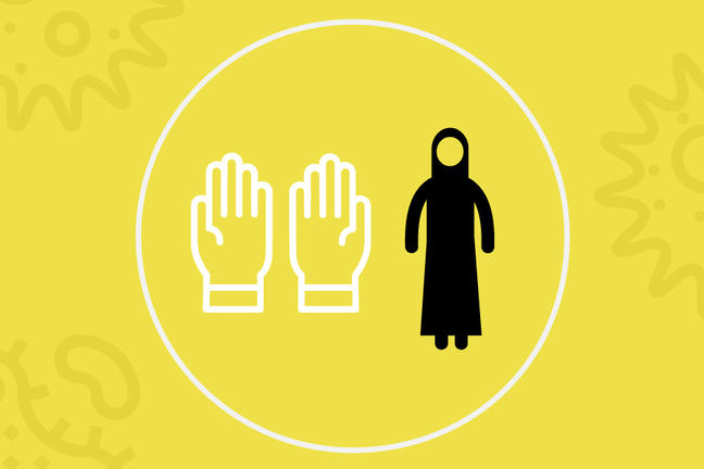 A cartoon image of a person wearing a quarantine suit is standing beside a picture of gloved hands. A white line encircles both figures with a yellow background.