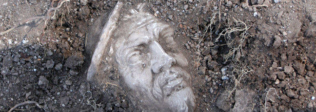 A marble head discovered during the archaeological excavation of Portus