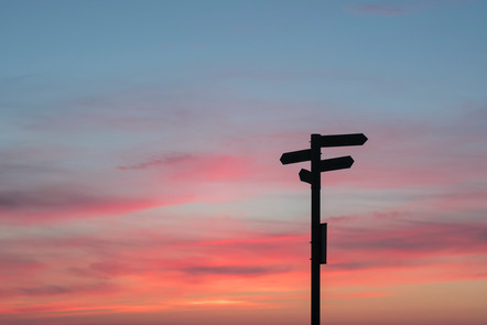 Shadowed signposts with a sunset behind them to symbolise reflective thinking