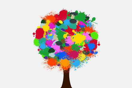 A tree with a crown made of colourful paint