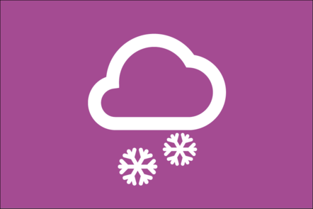 Weather icon of a cloud and 2 snowflakes
