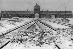 A black and white photograph of Auschwitz