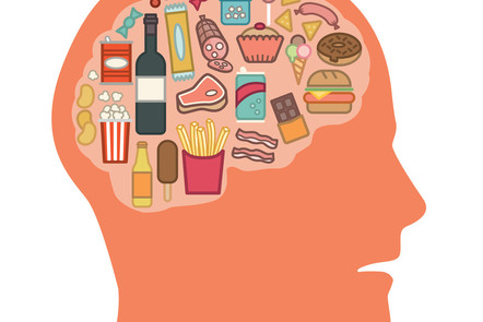 a drawing of the inside of a brain - with images of food inside of it