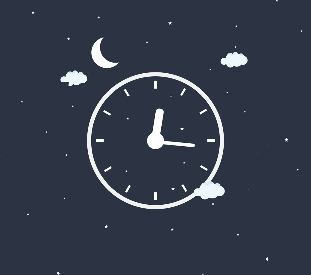 A dark blue background with white little stars. A clock is in the middle showing the time 12:15 am.