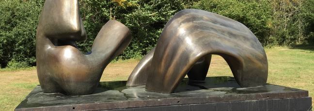 Sculpture on a lawn, Henry Moore Studio and Gardens, Perry Green, UK