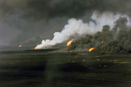 The burning oil fields of Kuwait.