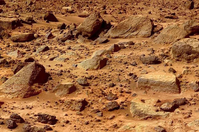 Rocky surface of Mars as seem from Mars Rover craft