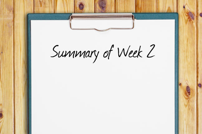 "A clipboard with the words ""Summary of Week 1"" written on it"