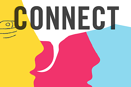 The word 'connect' in bold letters over an illustration of an two faces with a speech bubble