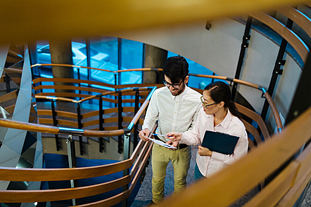 Two colleagues discussing and pointing at a document as they walk up a flight of stairs.