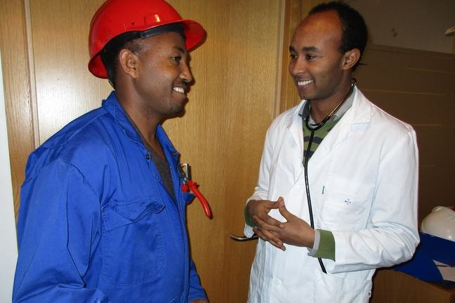 A safety engineer and a physician can have different skills and tools, but work well together.