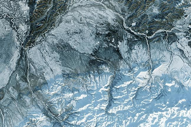 Satellite image of snowy/icy landscape