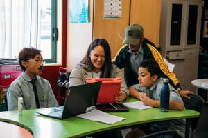 Teacher and students using digital tools collaboratively