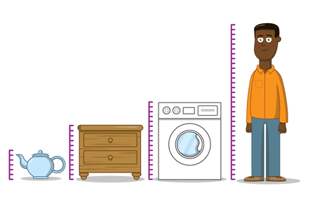 A teapot, chest of drawers, washing machine and a person are lined up in order of height. Each of them has a scale bar next to them representing their height.