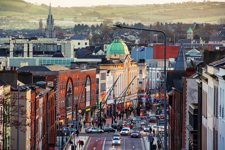 St Patrick's Street, at the centre of Cork city.