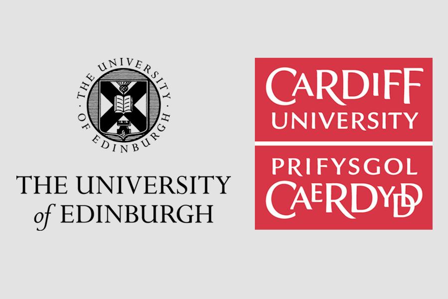 Logos of the University of Edinburgh and Cardiff University