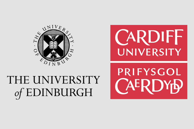 Logos of the University of Edinburgh and Cardiff University