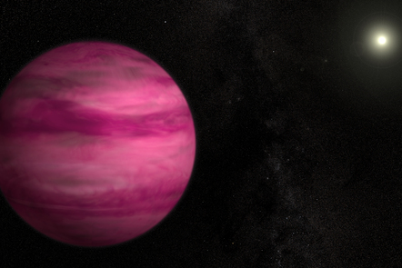 Depiction of newly discovered exoplanet GJ 504b glowing a dark magenta