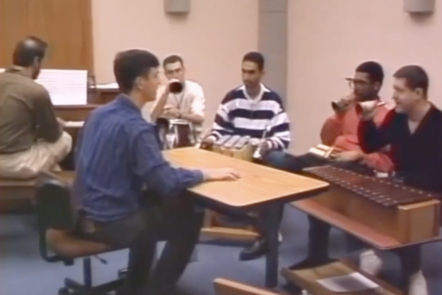 A screenshot from the archive video of 'the transition group' music making session