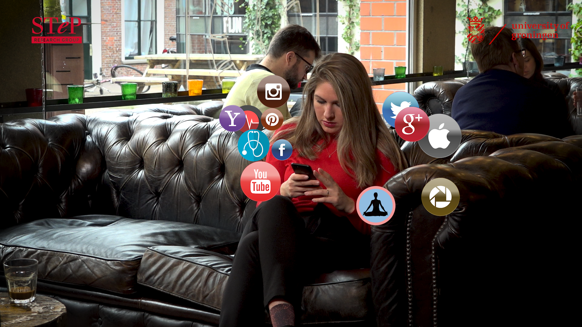 Anna surrounded by apps