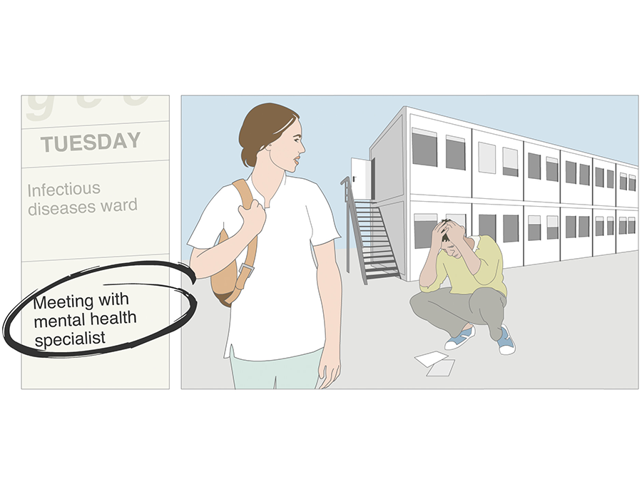 Illustration: Sarah watches distressed man bending over papers spread on ground in front of barracks