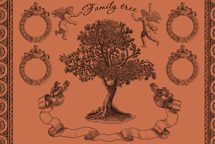 Family tree illustration in style of old engraving