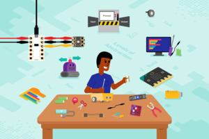 Images reflecting the course content, including a Crumble microcontroller attached to a Sparkle light, a BBC micro:bit, some block-based code, and a child behind a table with batteries, wires and craft materials on the table.