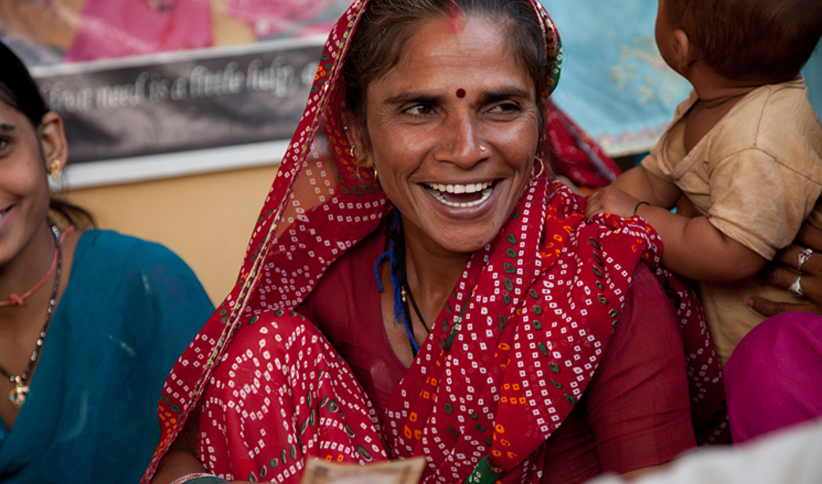 Female textile artisan in Jaipur, India working with Artisans of Fashion