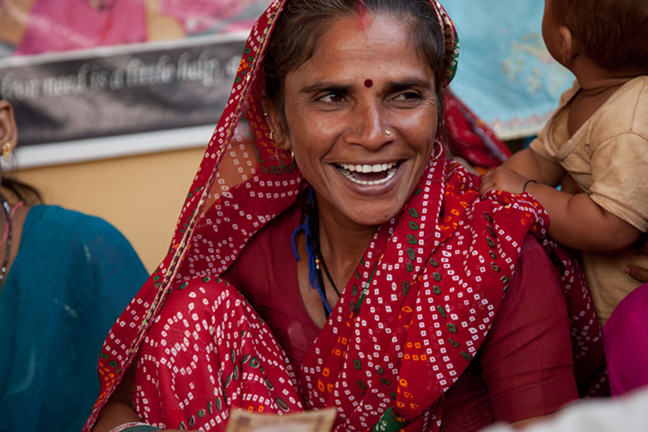 Female textile artisan in Jaipur, India working with Artisans of Fashion