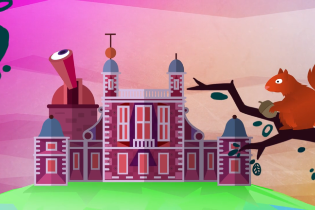 A cartoon image of the Royal Observatory Greenwich.
