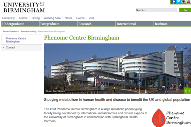 The website for the Phenome Centre Birmingham