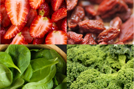 Superfoods and alternatives: goji and kale; strawberries and spinaches
