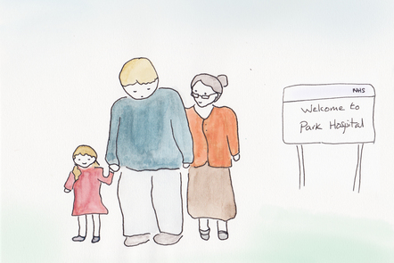 An illustration showing a family unit (a grandmother, her son and a small child) standing outside a hospital. His expression suggests the son is in need of support.