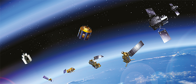 Satellites in orbit around the Earth