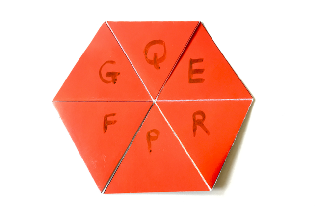 Tri hexa flexagon with the letters G,Q,E,R,P,F on the face