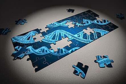 Image representing DNA genetic structure with blue puzzle pieces.