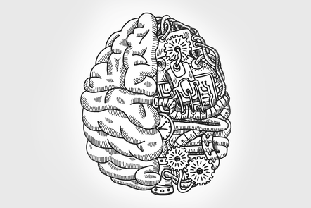A brain with brains on the left side, and technology on the right