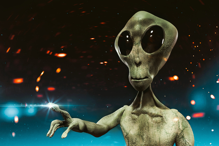 Computer generated image of a typical depiction of a Martian alien