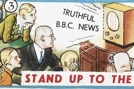 """excerpt from Ministry Information Postcard """"truthful BBC news"""""""