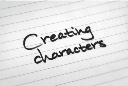 A page with the words 'Creating characters' written down.