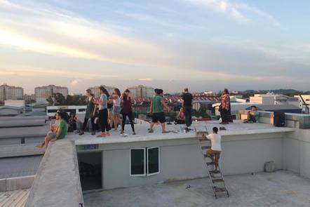 People on a rooftop