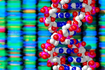 DNA double helix module in front of sequence output data in colour. Image 'DNA double helix and sequencing output' © Peter Artymiuk. CC BY